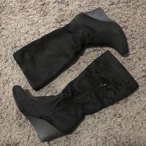 Shoes - Black velvet heeled middle long boots